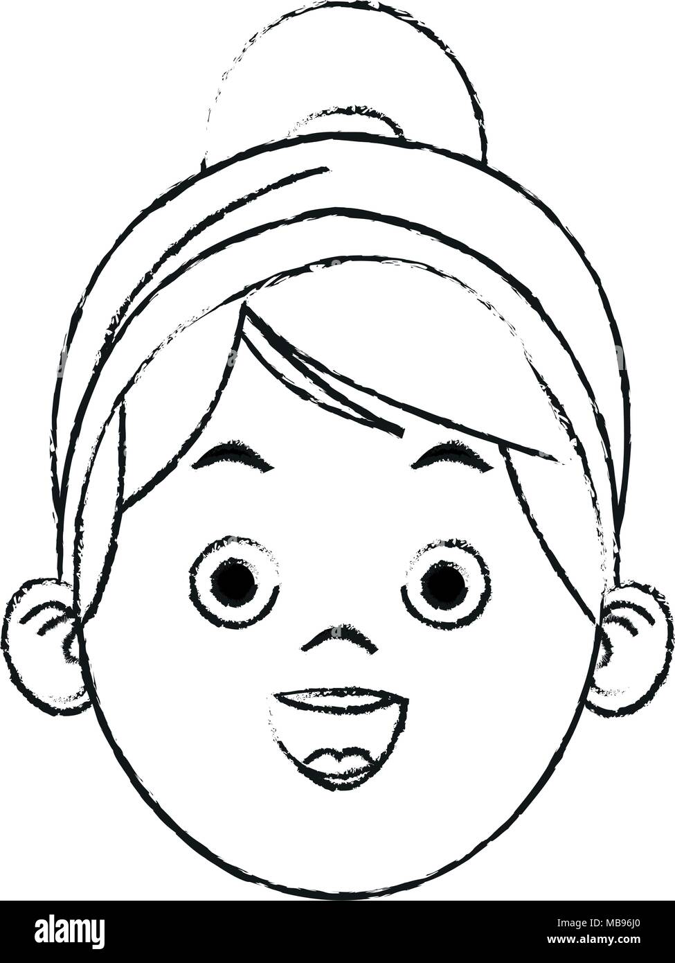 Beautiful Little Girl Face Cartoon Sketch Stock Vector Image Art Alamy