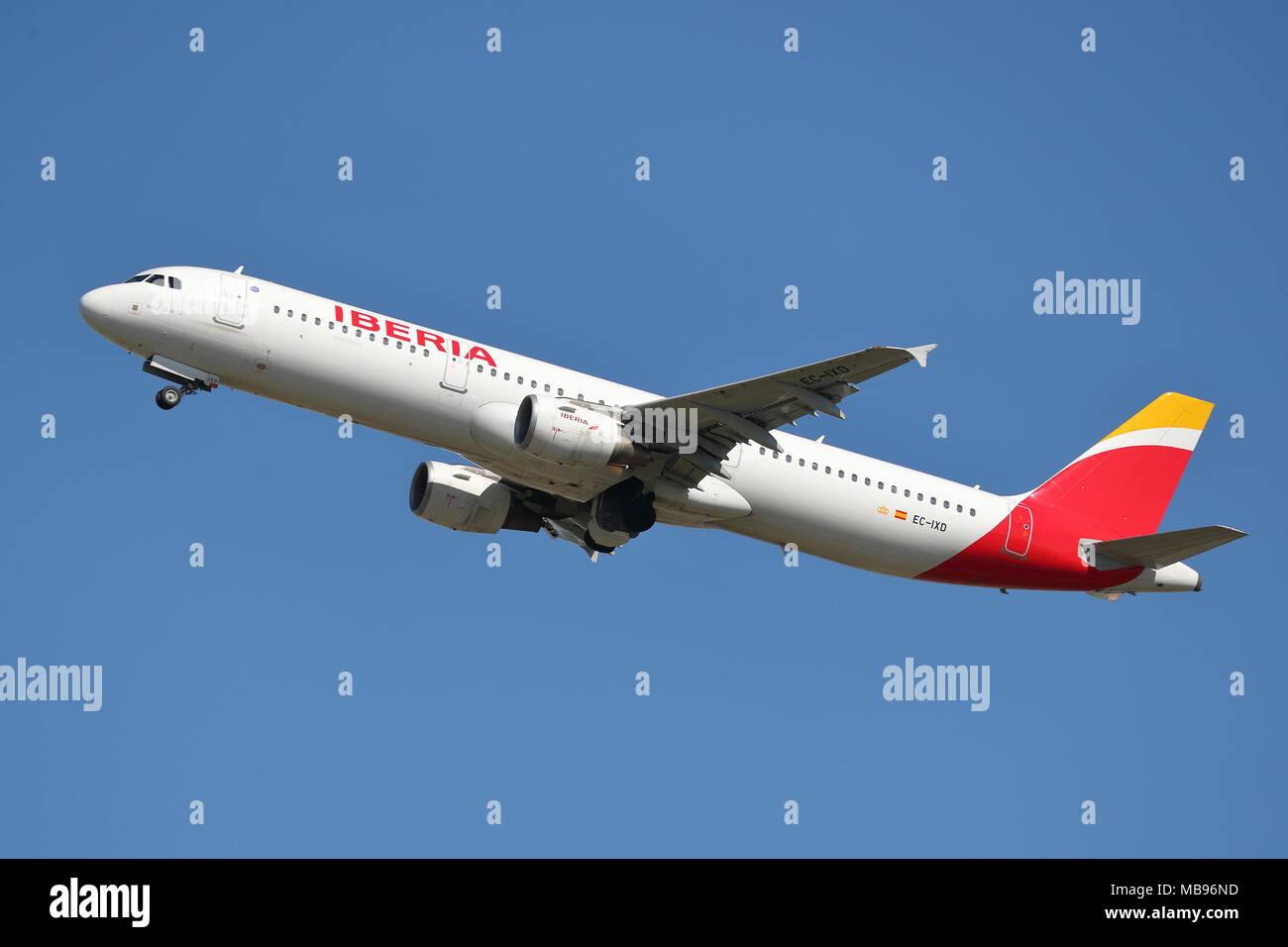 Iberia Airbus A321 EC-IXD departing from London Heathrow Airport, UK - Stock Image