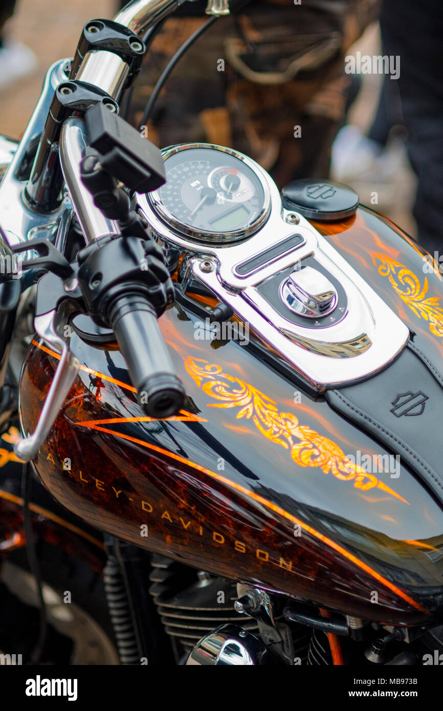 7 April 2018 Abington Street  Northampton UK  Harley-Davidson  Rolls Into  Northampton  first event   by councillor  Terry Wire  Lab  for St  James - Stock Image