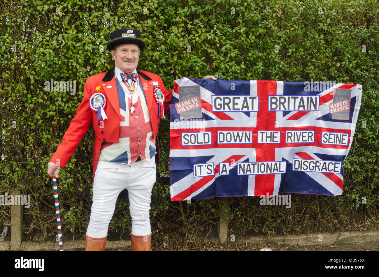 Man dressed as John Bull protesting against decision to print new blue British passports in France - Stock Image