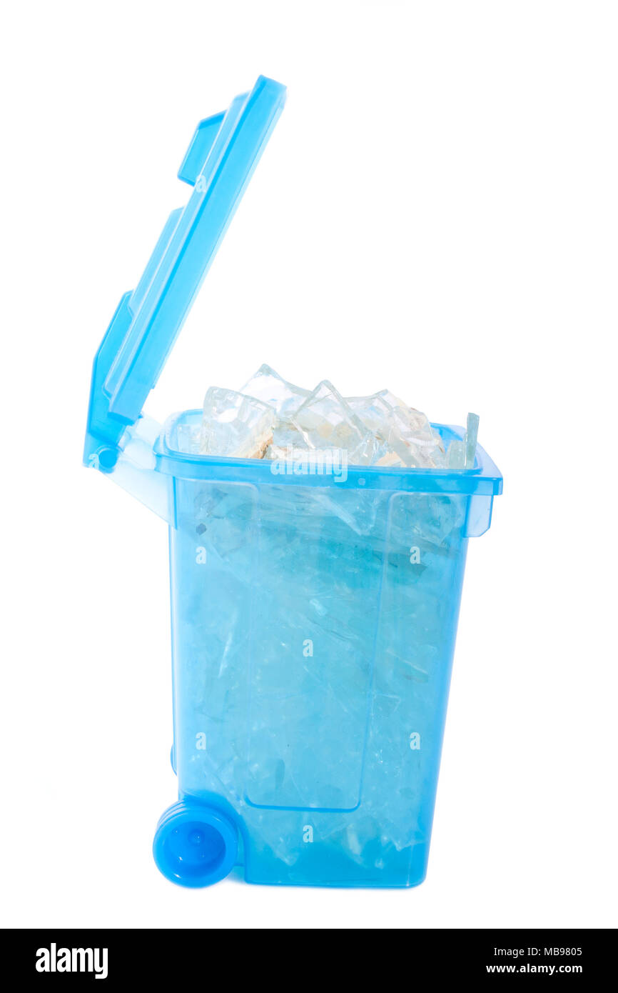 Blue box with sharp glass isolated on white - Stock Image