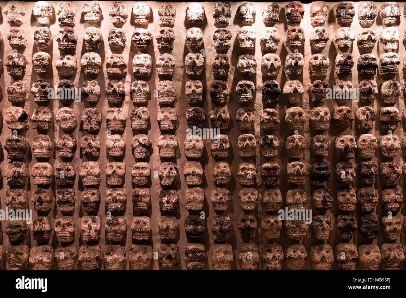 "Aztec Human Skull Sculptures in Museum ""del Templo Mayor"", Mexico City (Tzompantli) Stock Photo"