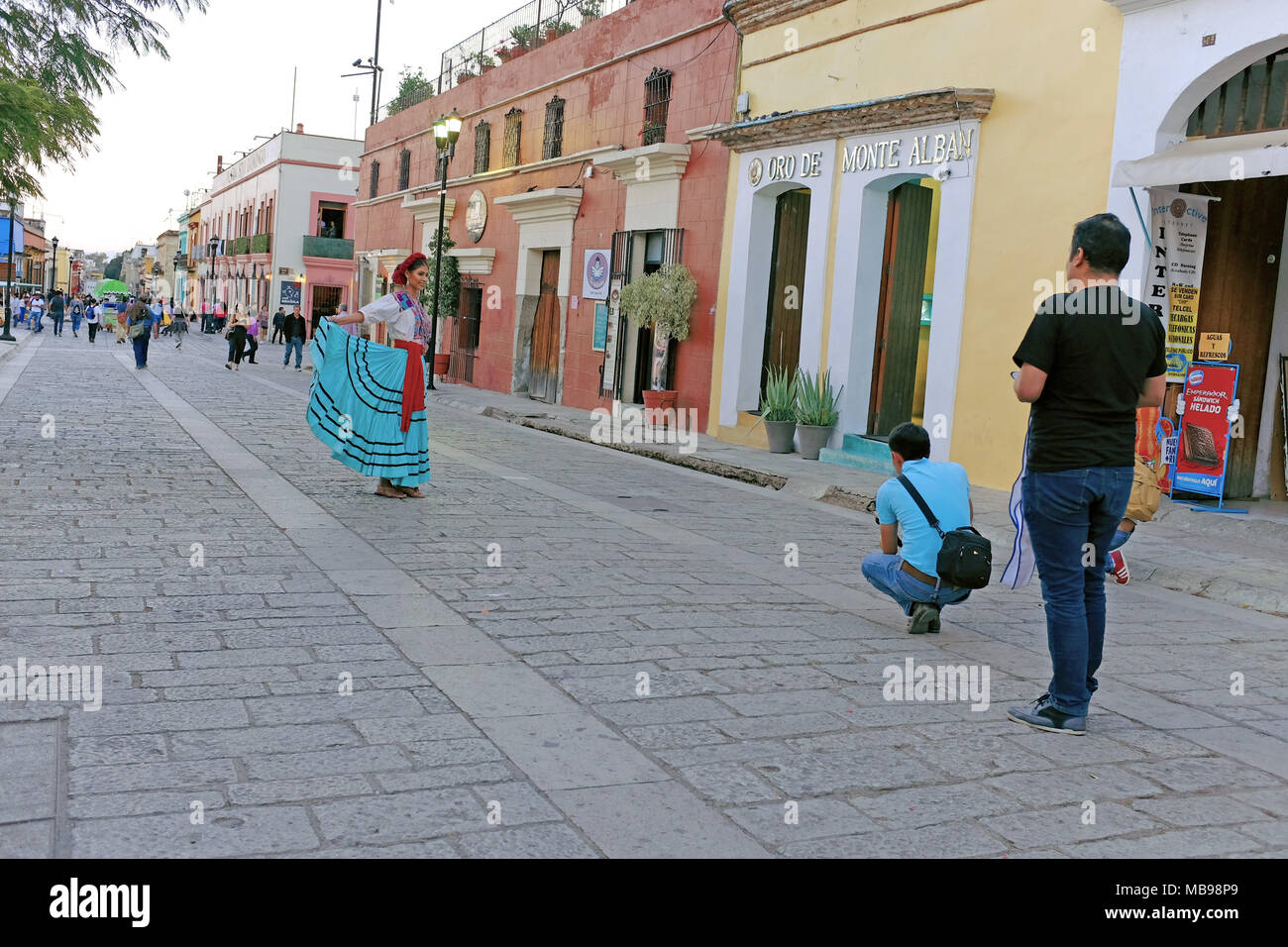 Miss Oaxaca 2018 being photographed on the colonial streets of Oaxaca, Mexico. - Stock Image