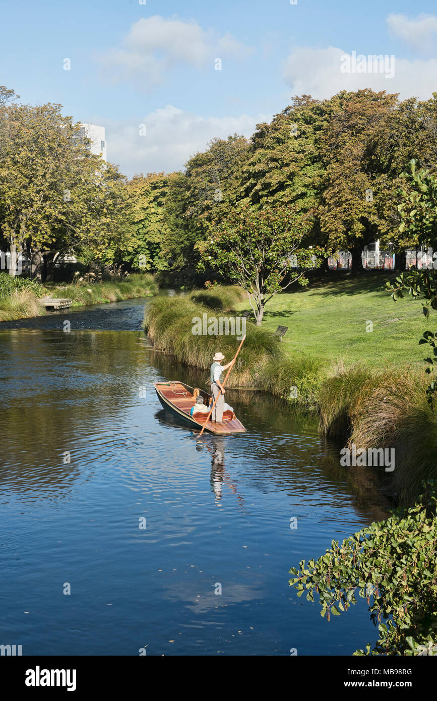 Punting on the Avon River, Christchurch, New Zealand - Stock Image