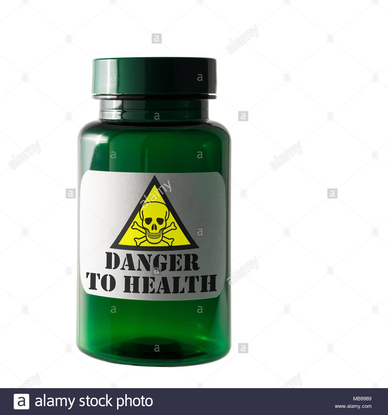 Danger to health label, Dorset, England, UK Stock Photo
