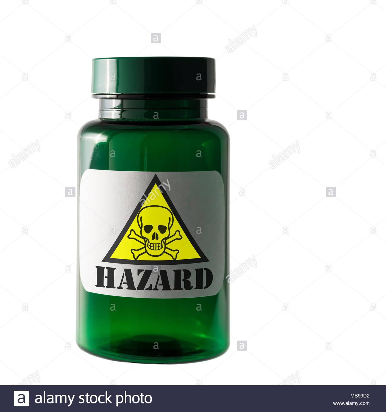 Hazard warning label, Dorset, England, UK - Stock Image