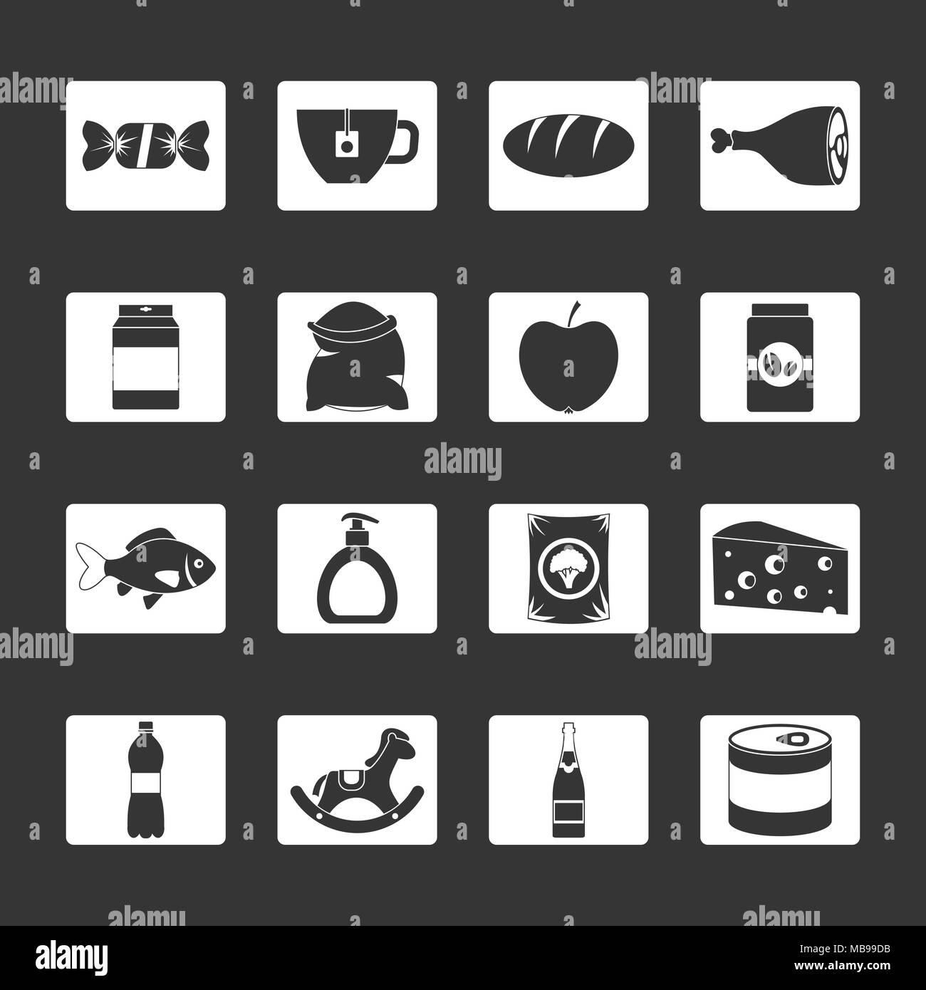 Shop navigation foods icons set grey vector - Stock Image