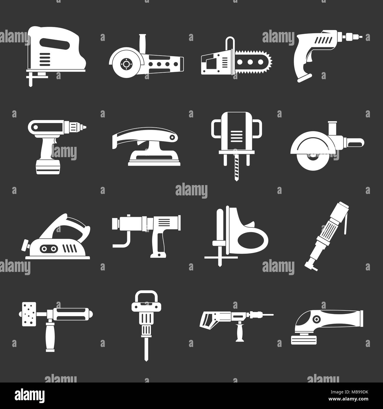 Electric tools icons set grey vector - Stock Image