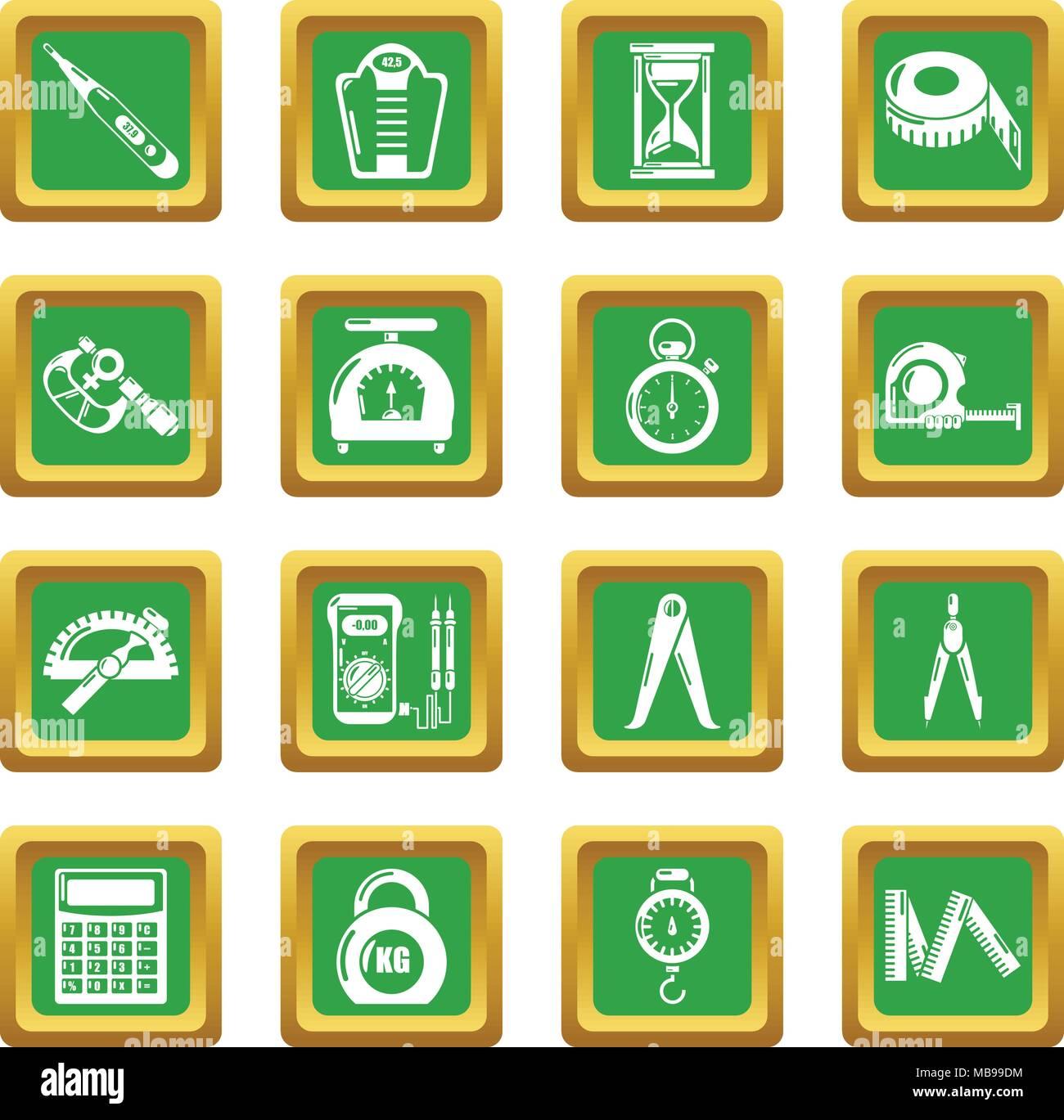 Measure precision icons set green square vector - Stock Image