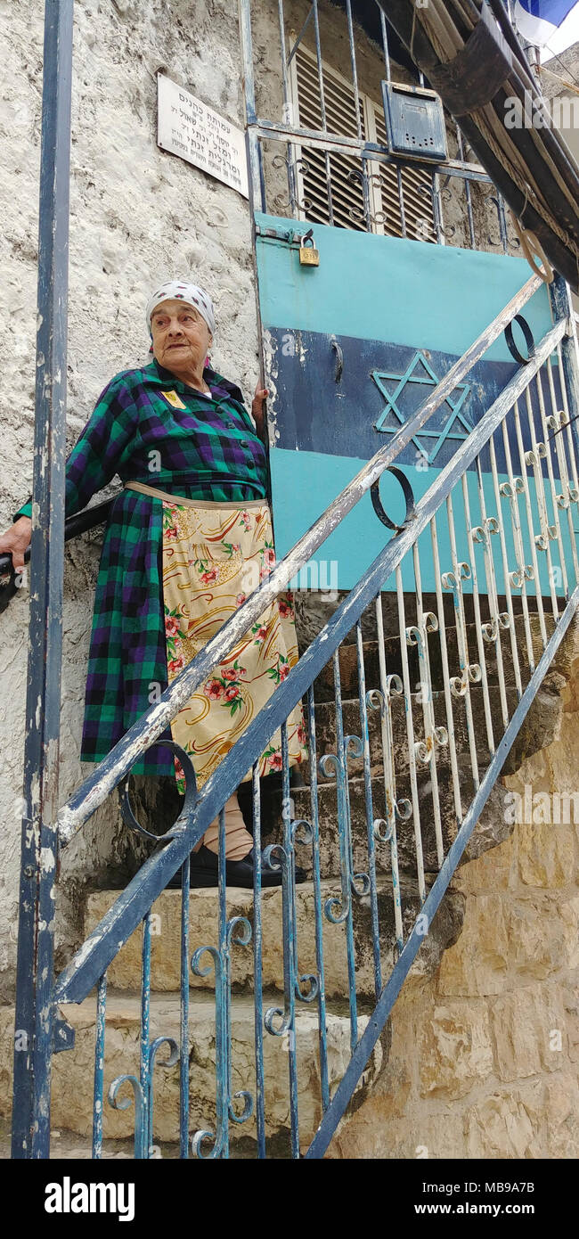 Margalit Zinati was born in 1931 in Kfar Peki'in in the Galilee. She is part of an ancient Jewish family that has been preserving the Jewish community in the Galilee continuously since the days of the Second Temple. Margalit Zinati was chosen as one of the 14 torch lighters on Israel's 2018 Independence Day ceremony - Stock Image