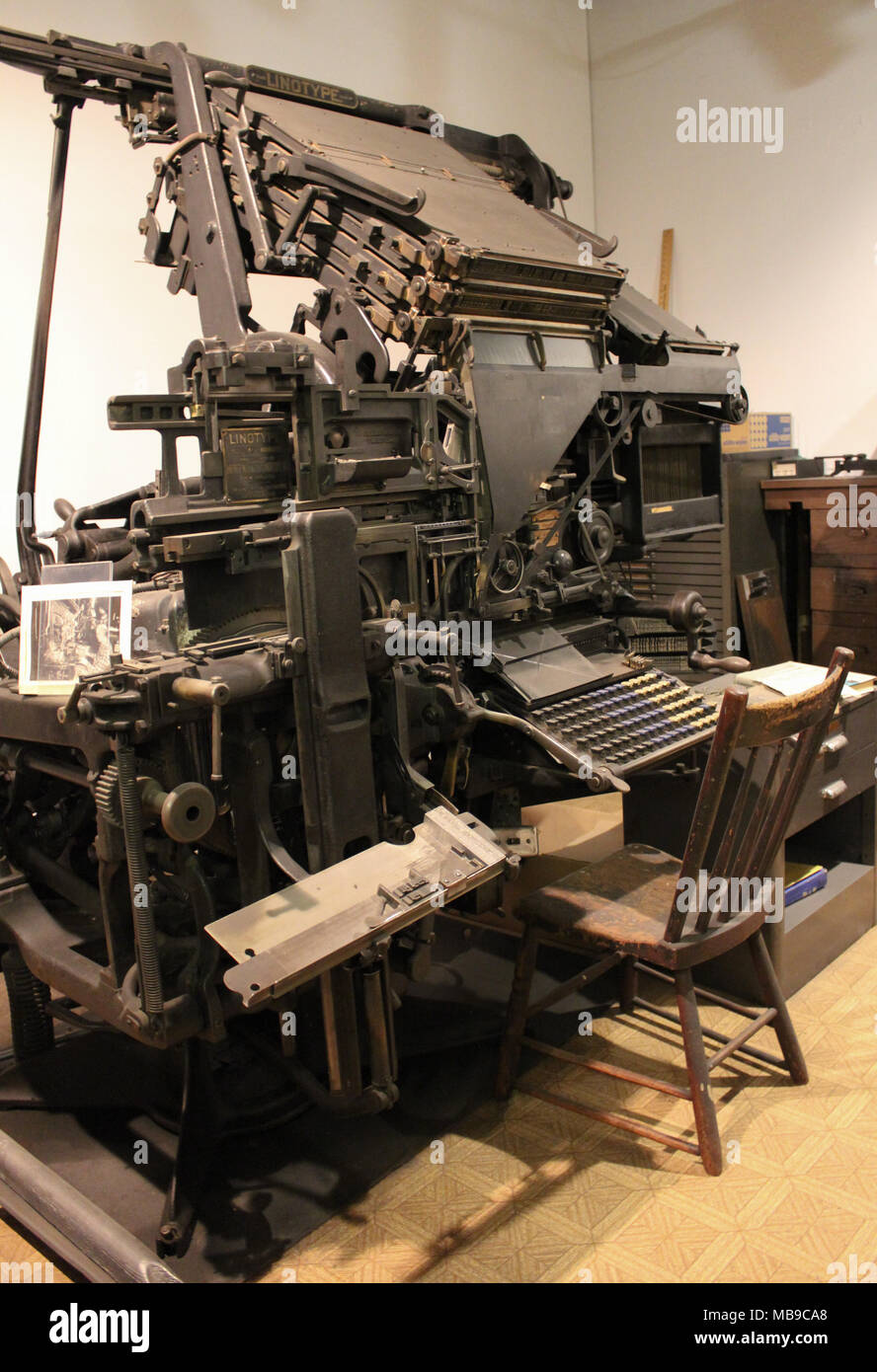 Linotype Model 14 at History Museum - Stock Image