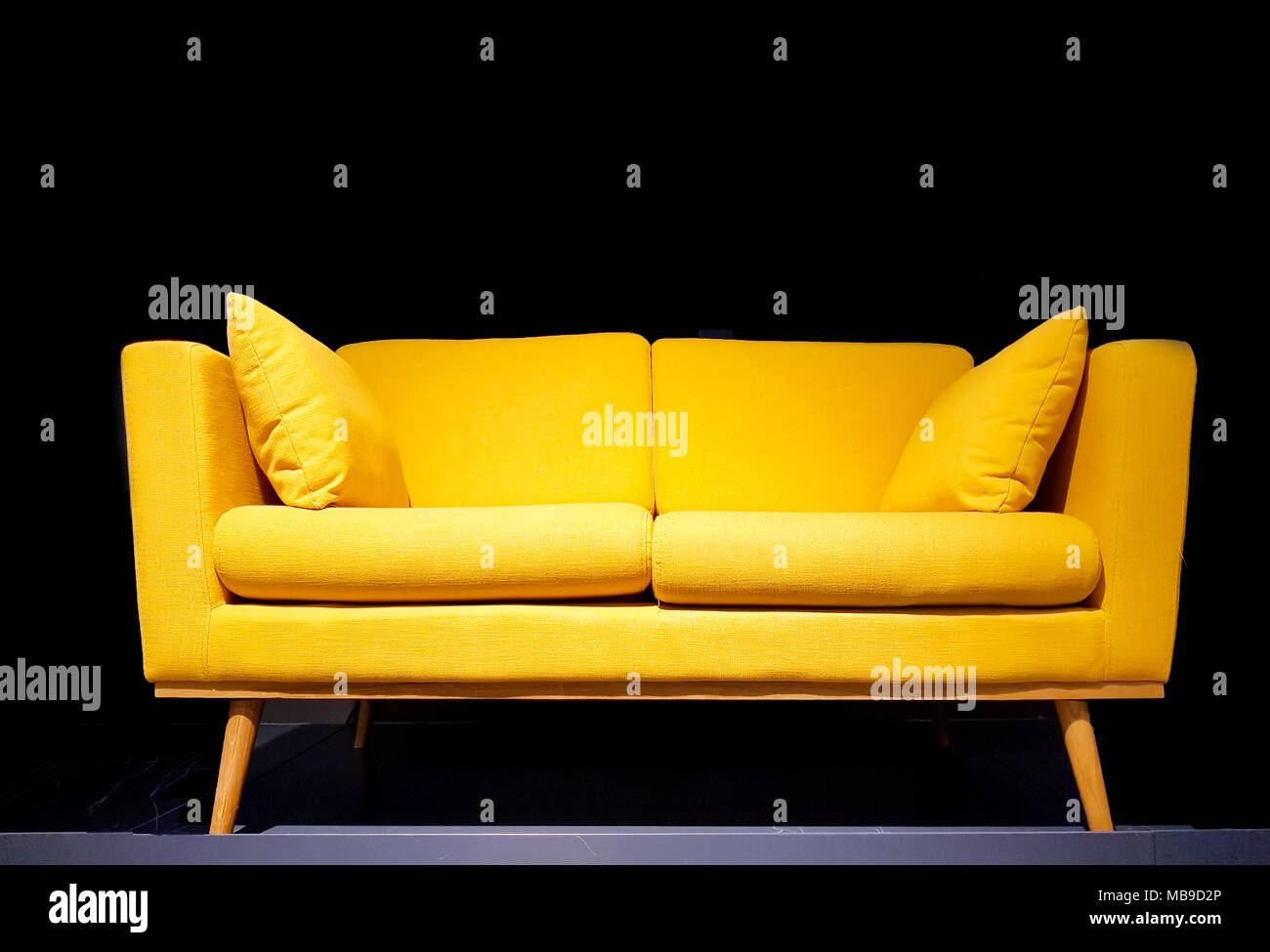 Superieur Yellow Sofa In Dark Room With Dim Light Background Stock ...