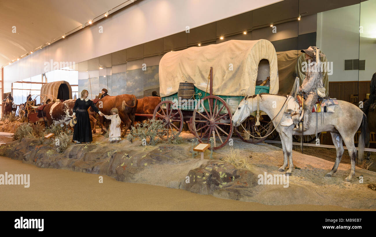 National Historic Oregon Trail Interpretive Center at Flagstaff Hill near Baker City, Oregon. - Stock Image