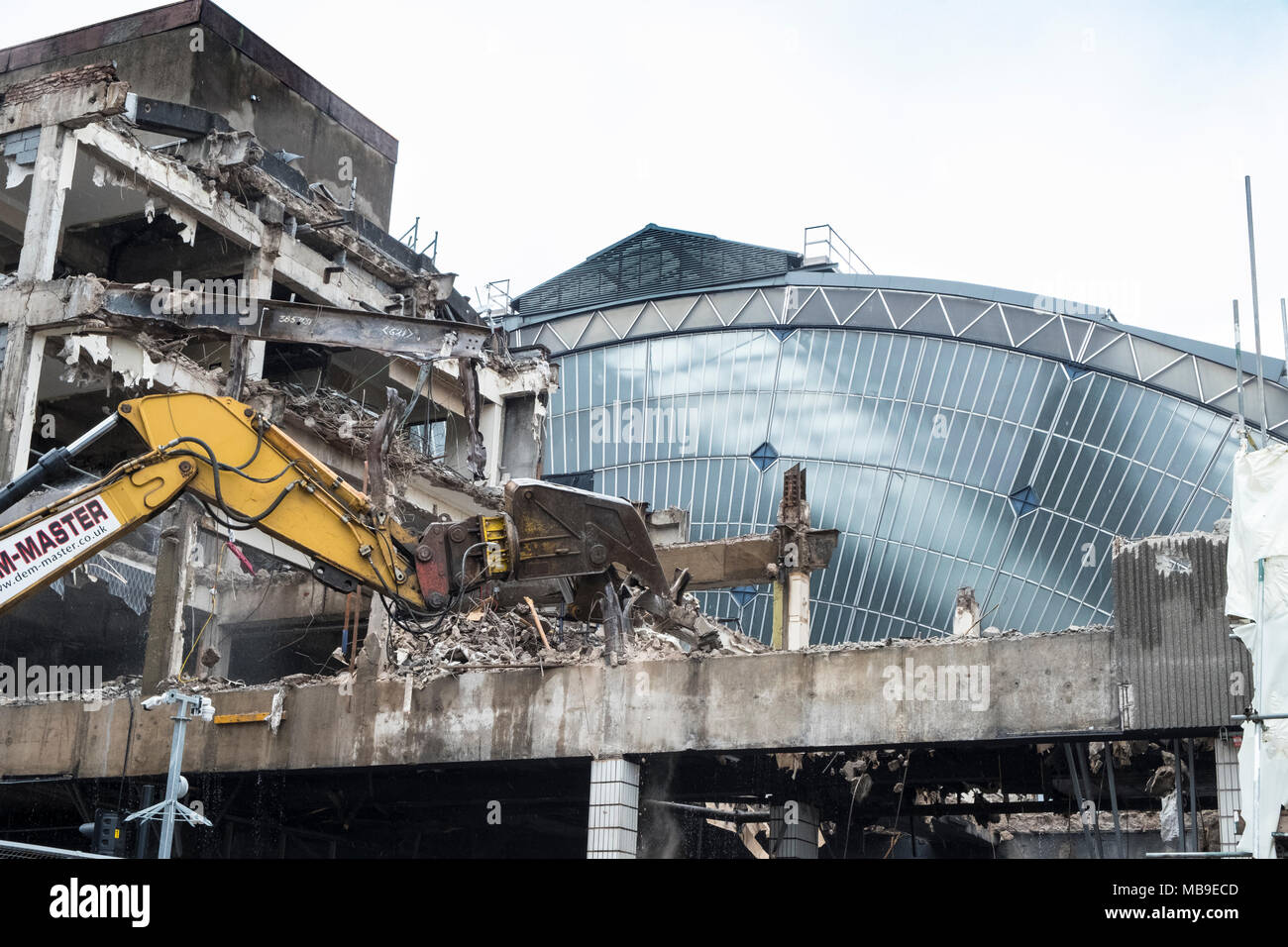 Redevelopment and demolition works at Queen Screen Station on George Square revealing original old glass atrium building , Glasgow, Scotland, United K - Stock Image