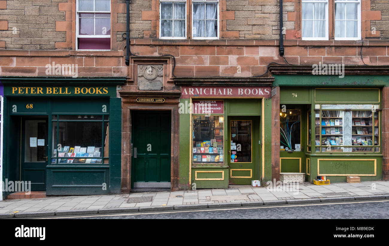 Armchair Books and Peter bell Books  second hand bookshops in Edinburgh Old Town , Scotland, United Kingdom - Stock Image