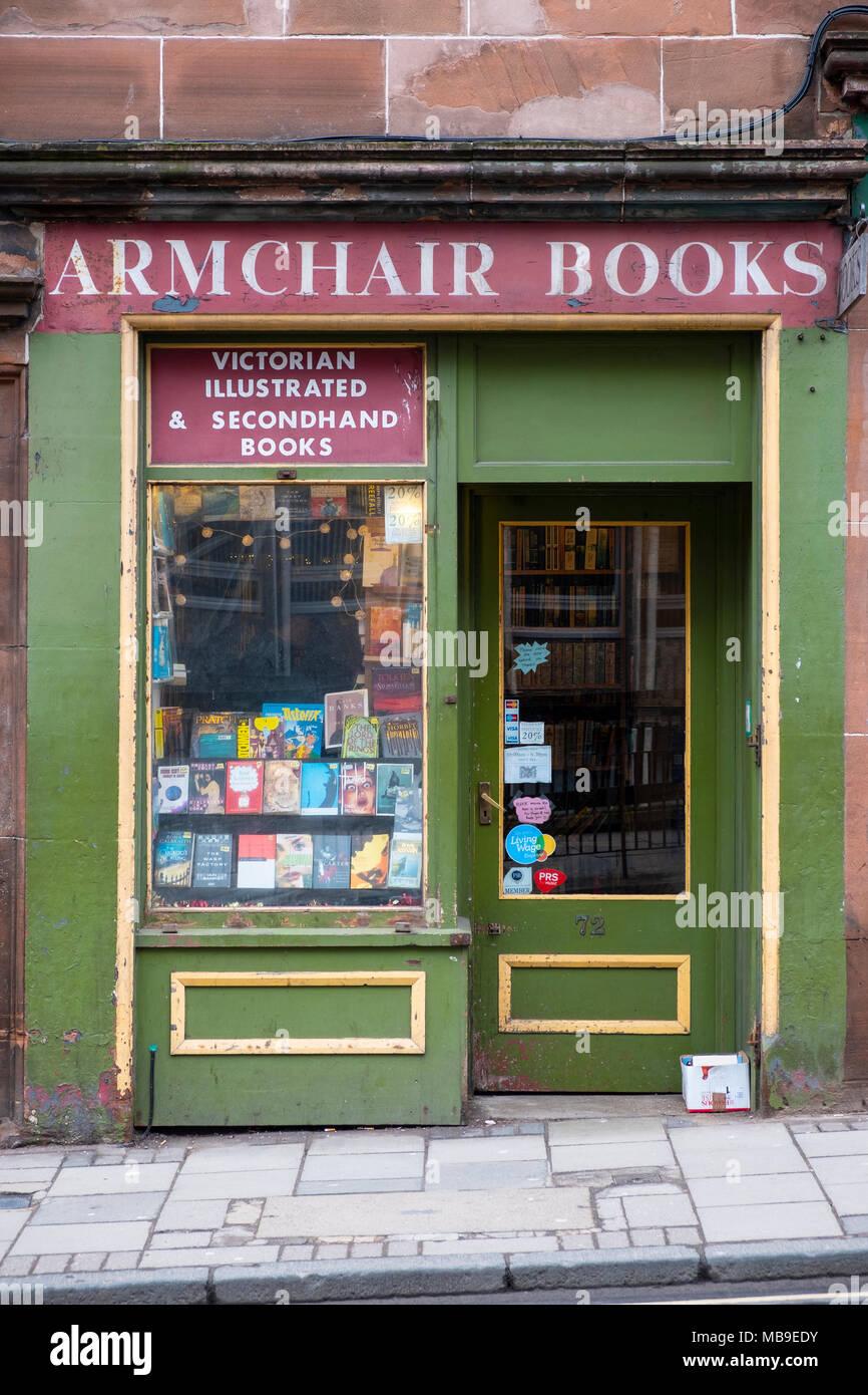 Armchair Books second hand bookshop in Edinburgh Old Town , Scotland, United Kingdom - Stock Image