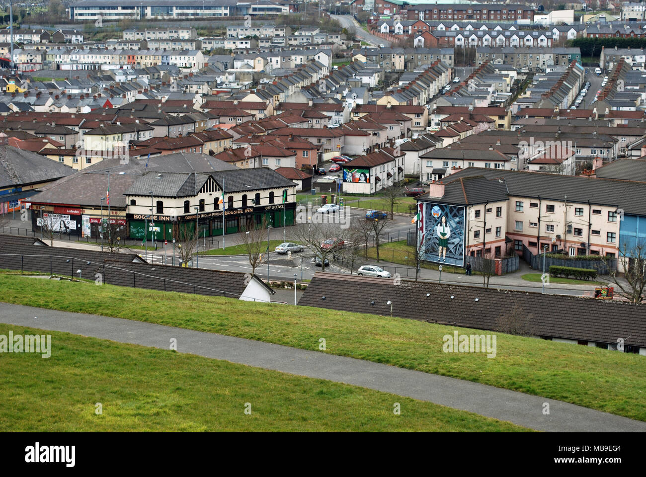 View of The Bogside from Derry City Walls. The mainly Catholic/Republican area of the city, it was a focal point of many events during 'The Troubles'. - Stock Image