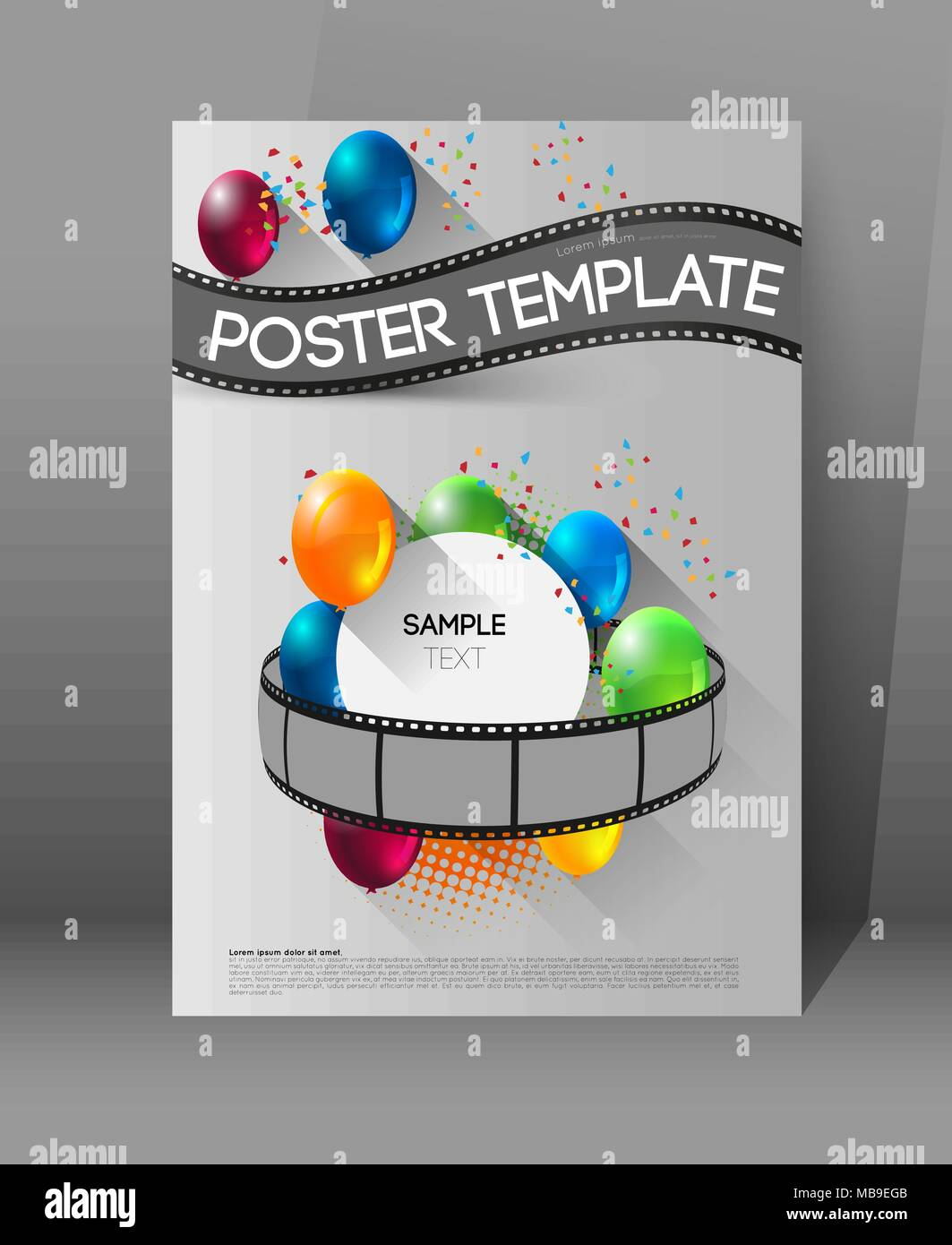 abstract movie poster template with film strips and colorful ...