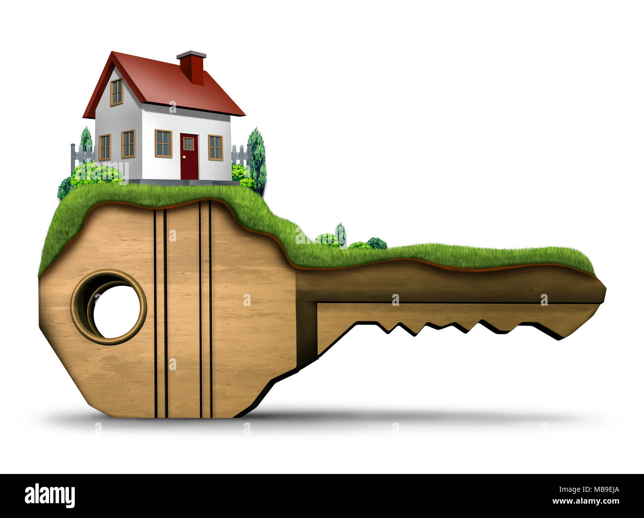 Real estate key family home symbol and house security concept as a 3D illustration on a white background. - Stock Image