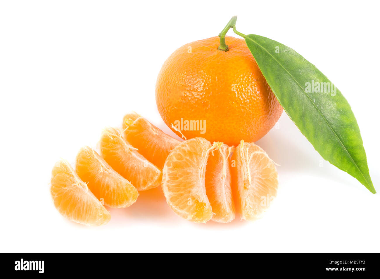 Fresh tangerines oranges with leaves isolated on white background, Healthy fruits, with a clipping path Top view. Stock Photo