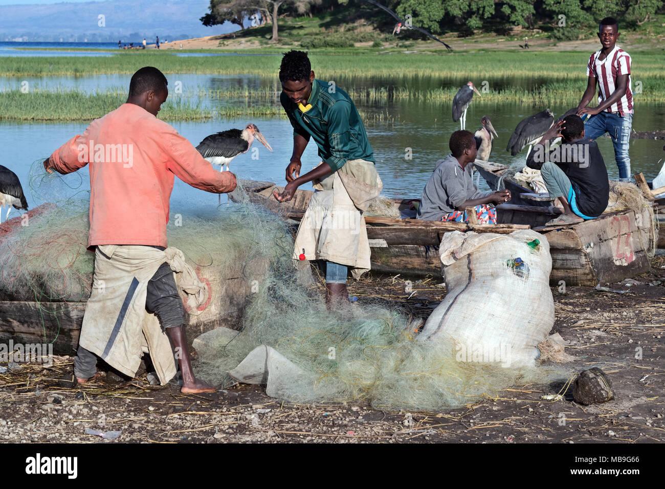 fishers, lake Awasa, Ethiopia - Stock Image