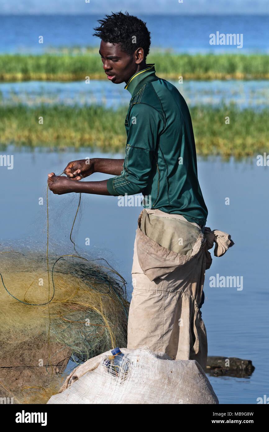 fisher, lake Awasa, Ethiopia - Stock Image