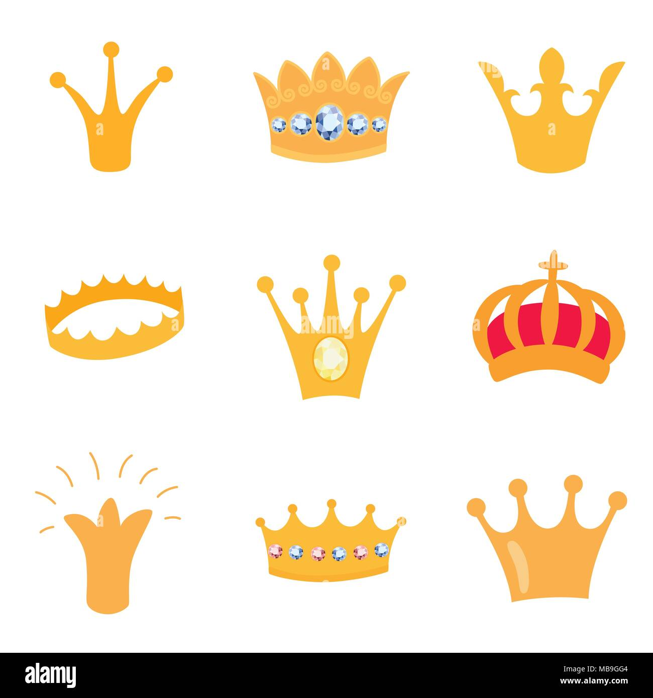 Set of gold crown icons. Vector isolated elements for logo, label, game, hotel, an app design. Royal king, queen, princess crown. - Stock Image