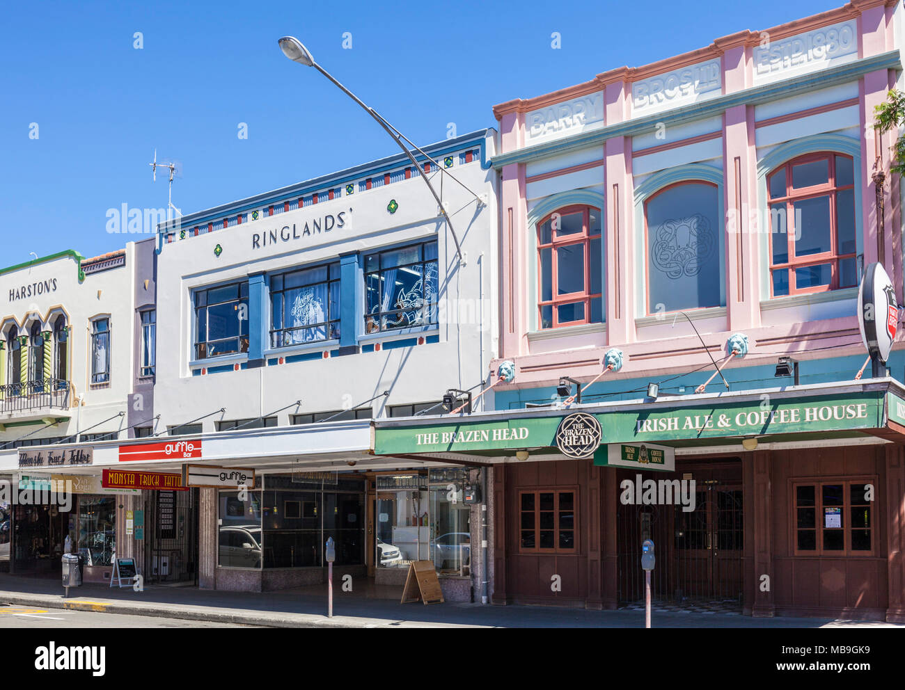 new zealand napier new zealand the art deco architecture of Napier town centre hastings street facades napier new zealand north island nz - Stock Image