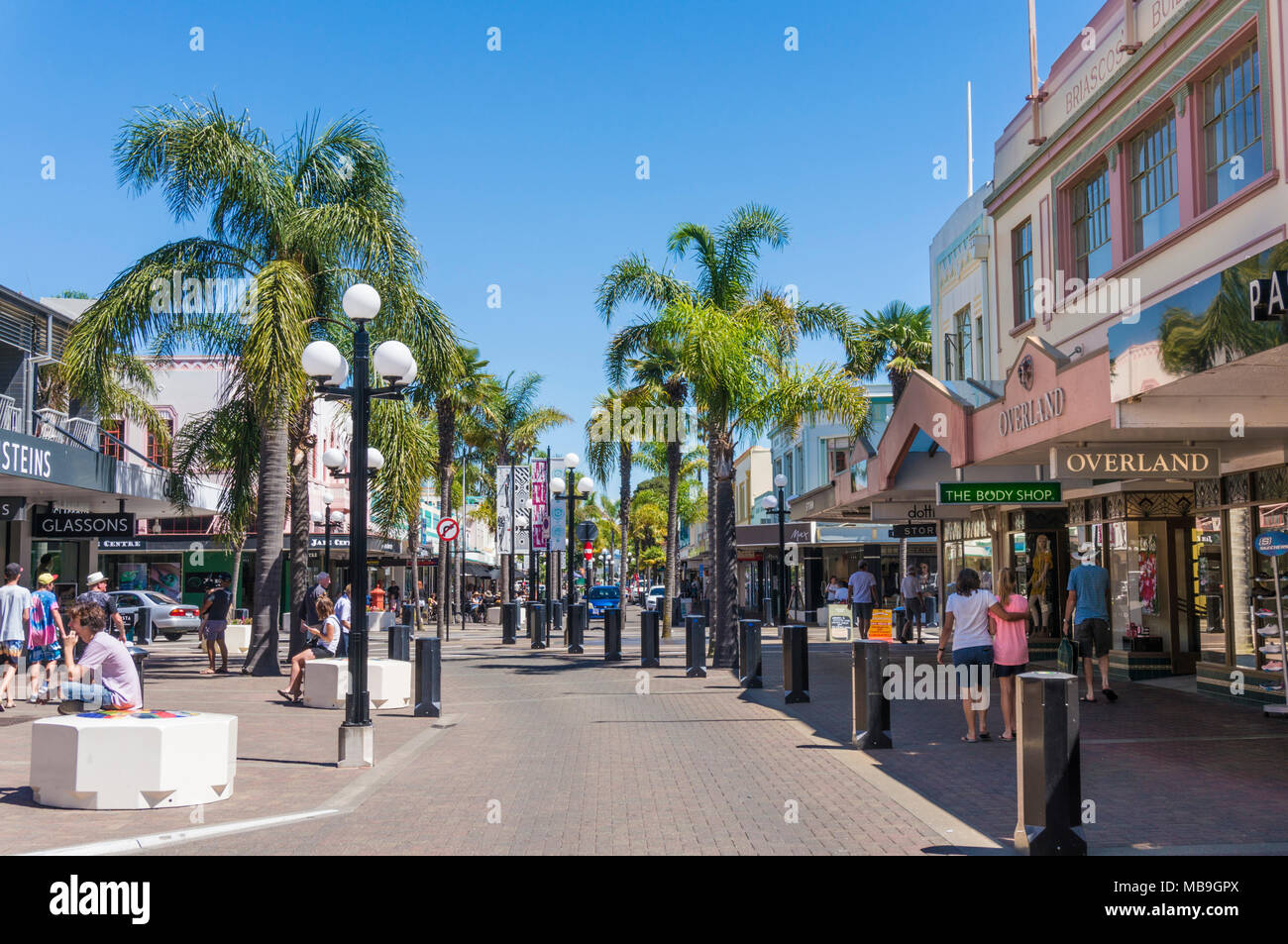 new zealand napier new zealand the art deco architecture of Napier town centre shops emerson street napier new zealand north island nz - Stock Image