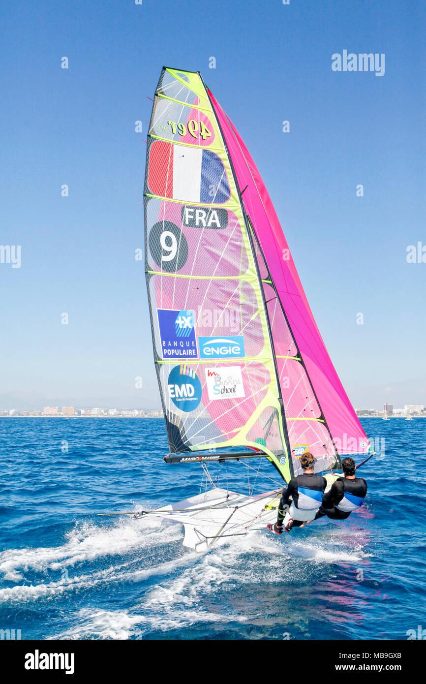 47 Trofeo S.A.R. Princesa Sofía IBEROSTAR Palma - Fédération Française de Voile. 49er, Julien D'Ortoli Noé Delpech. - Stock Image