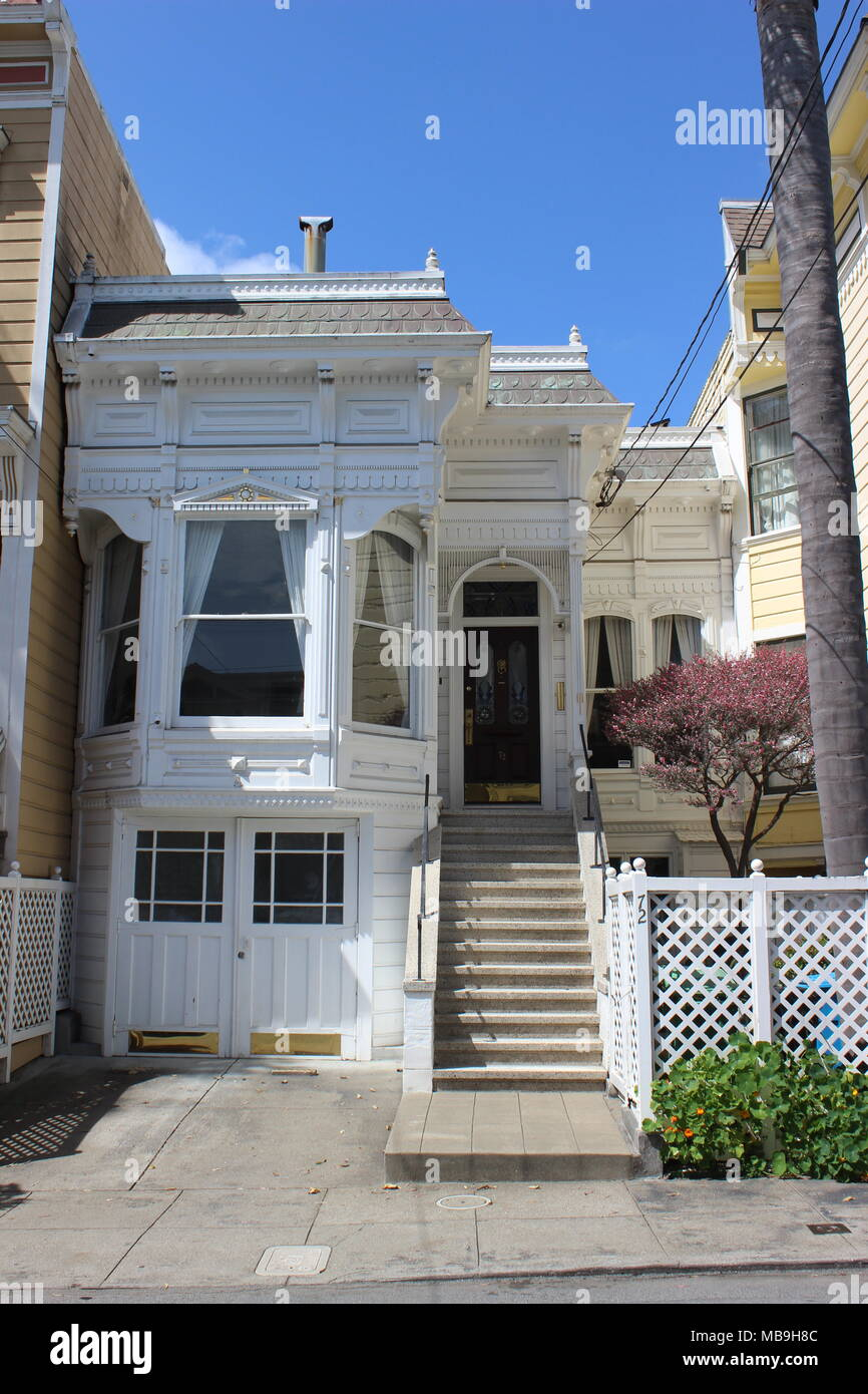Eastlake/Stick-style Cottage built 1882 in the Castro, Eureka Valley, San Francisco Stock Photo