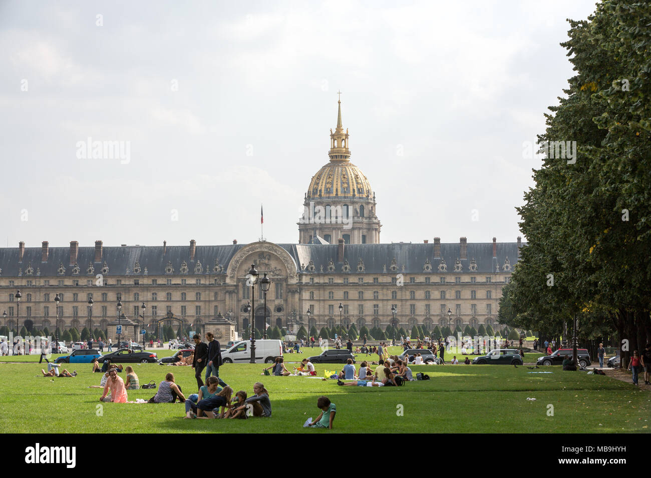 People resting in the park near main entrance Les Invalides. Paris, France Stock Photo