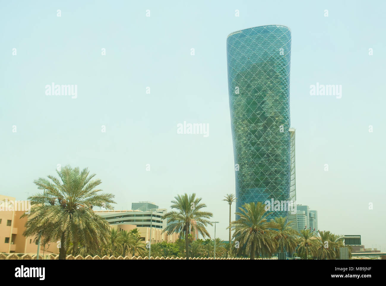 ABU DHABI, UAE - NOVEMBER 5: The Capital Gate Tower on the November 5, 2013 in Abu Dhabi, This is certified as the World's Furthest Leaning Manmade in the world. Stock Photo