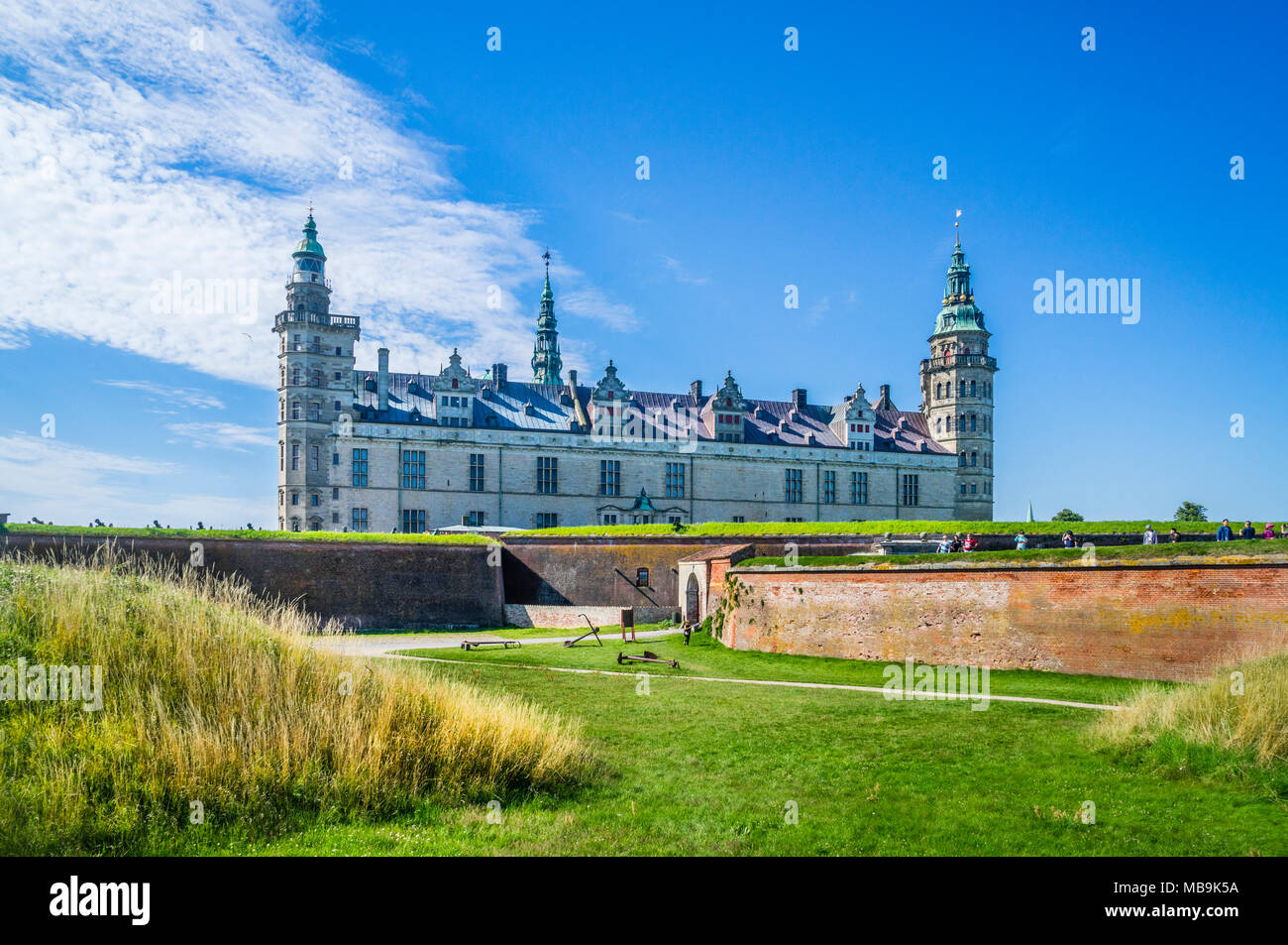 view of Kronborg Castle, a magnificent Renaissance castle immortalized as Elsinore in William Shakespeare's play Hamlet, Helsingør, Zealand, Denmark - Stock Image