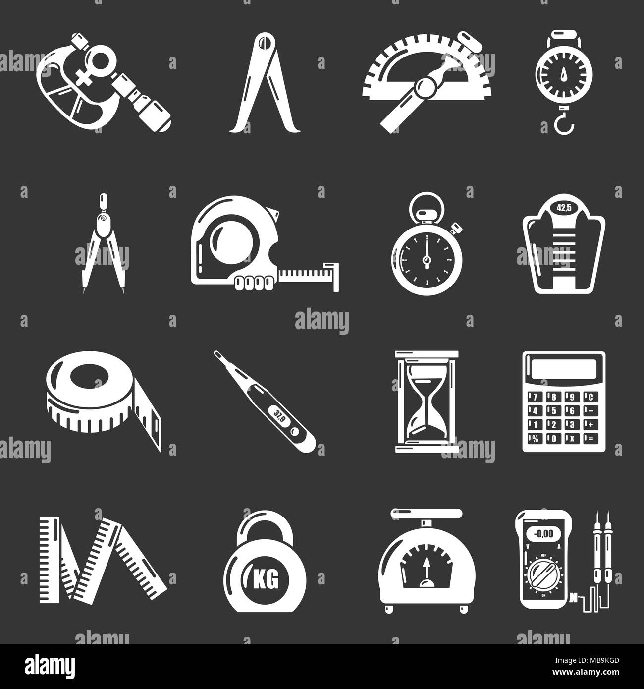 Measure precision icons set grey vector - Stock Image