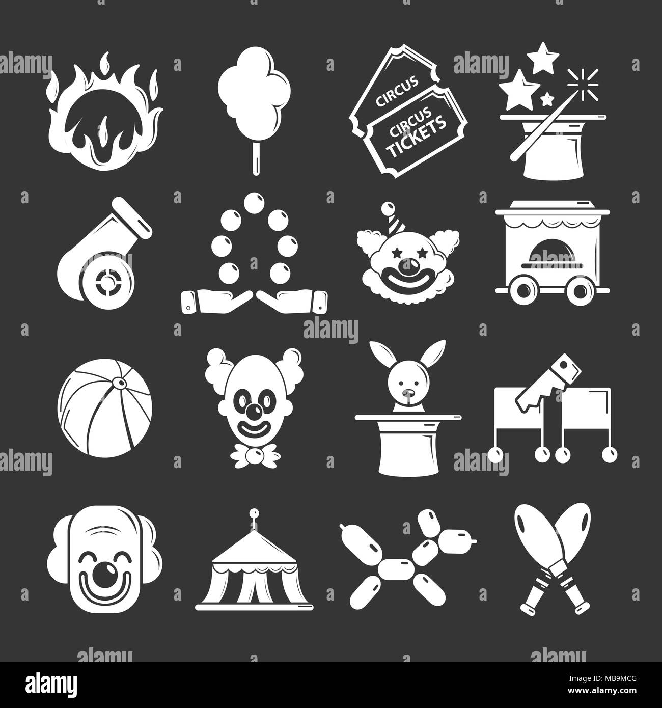 Circus icons set grey vector - Stock Image