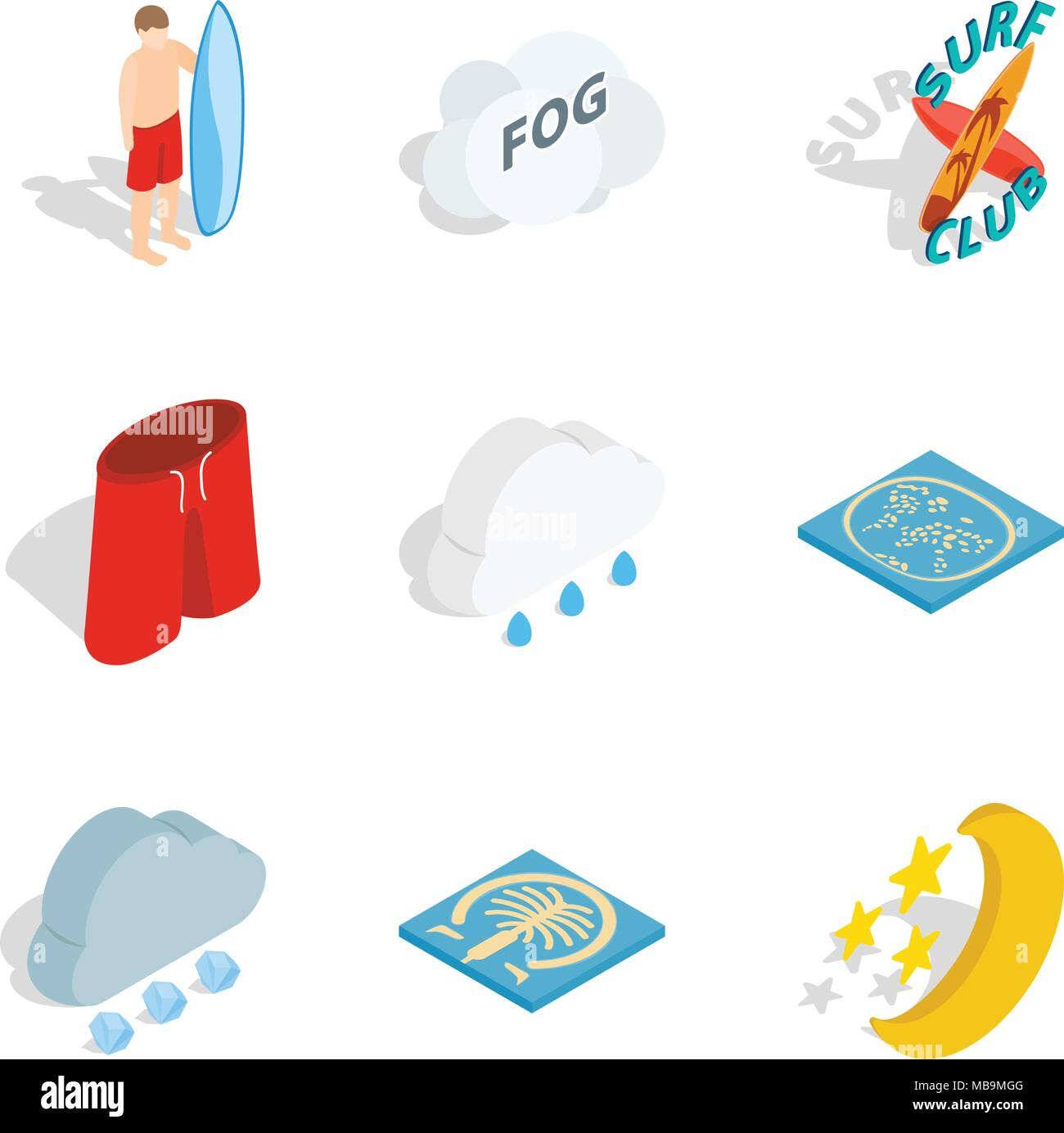 Inland water icons set, isometric style - Stock Vector