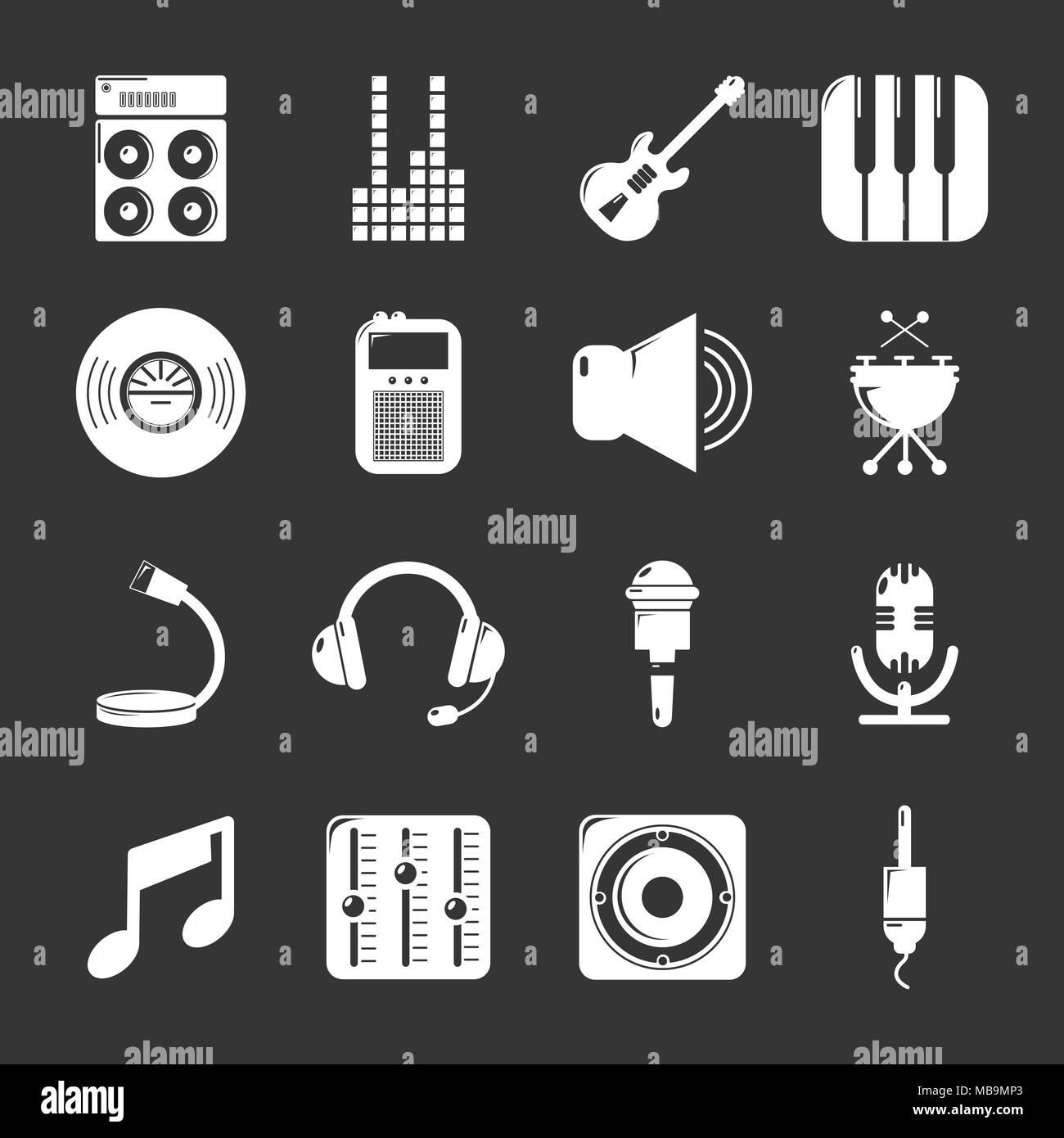 Recording studio symbols icons set grey vector - Stock Image