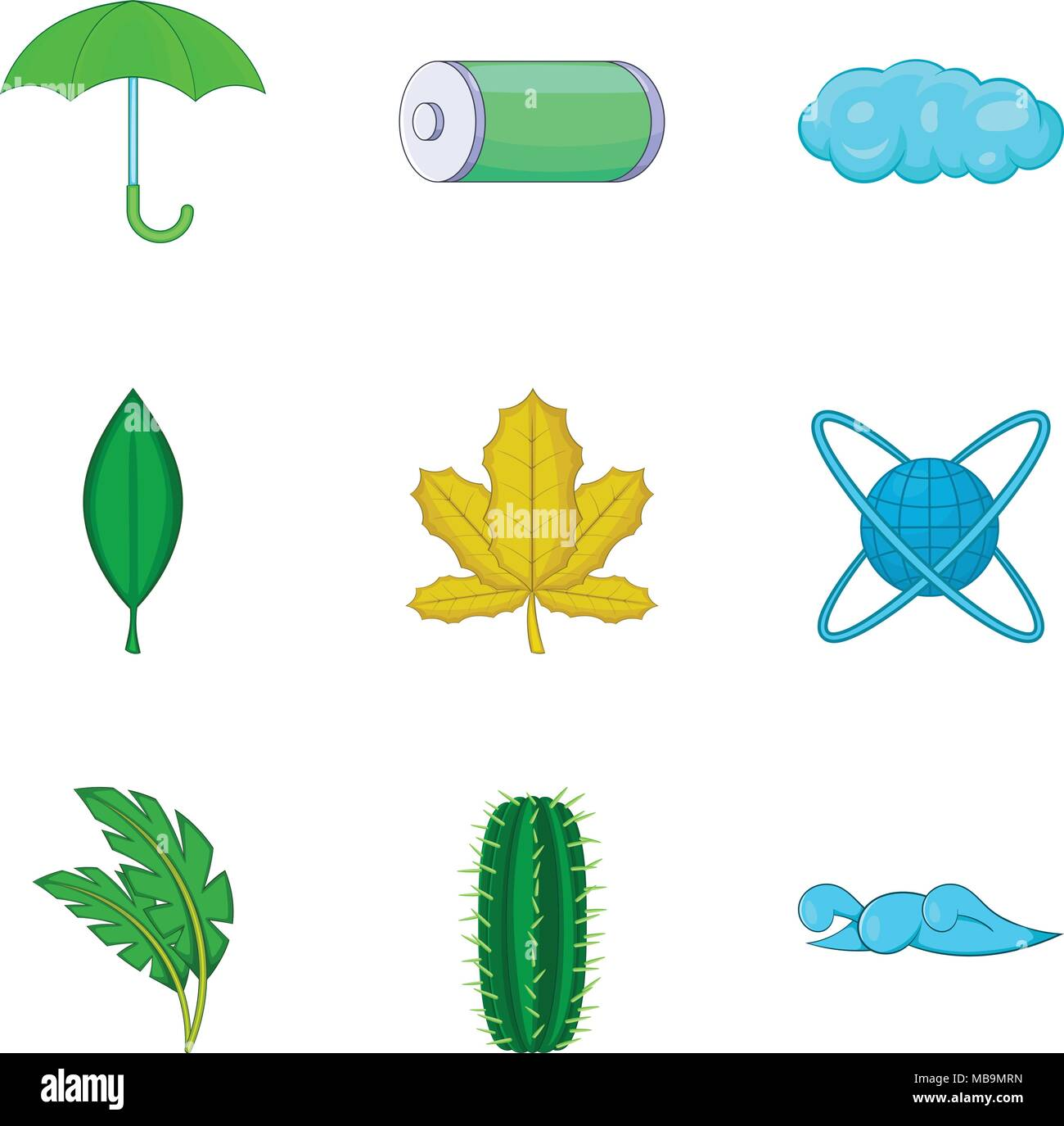 Water energy icons set, cartoon style - Stock Vector