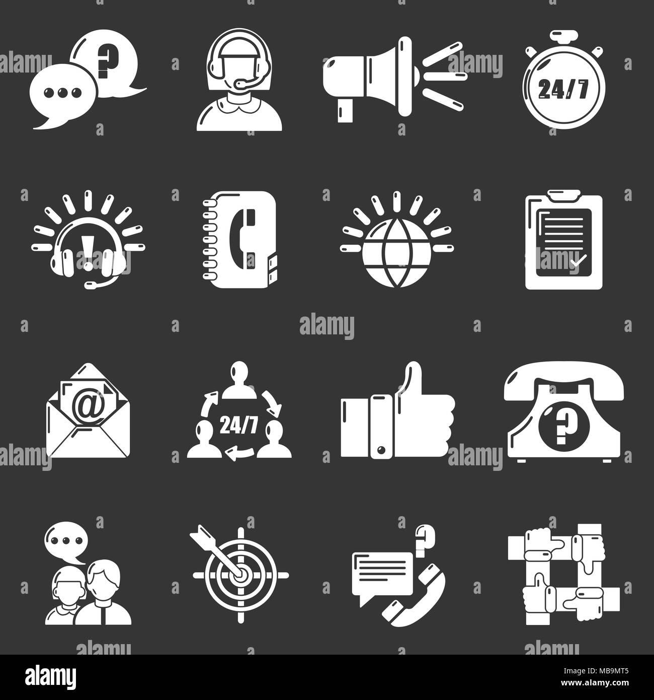 Call center icons set grey vector - Stock Vector