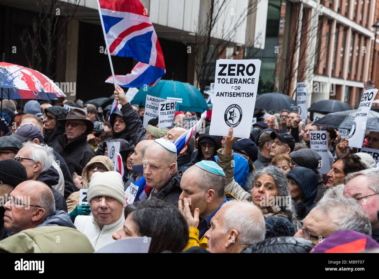 London, UK. 8th April, 2018. Jews and non-Jews attend a demonstration organised by the Campaign Against Antisemitism outside the head office of the Labour Party to apply pressure on its leadership to demonstrate a 'zero tolerance' approach to anti-Semitism. Credit: Mark Kerrison/Alamy Live News - Stock Image