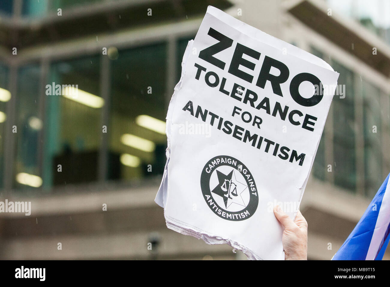 London, UK. 8th April, 2018. Jews and non-Jews attend a demonstration organised by the Campaign Against Antisemitism outside the head office of the Labour Party to apply pressure on its leadership to demonstrate a 'zero tolerance' approach to anti-Semitism. Credit: Mark Kerrison/Alamy Live News Stock Photo