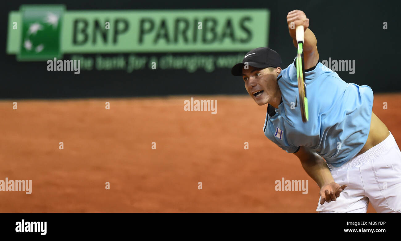 Ostrava, Czech Republic. 07th Apr, 2018. YSHAI OLIEL of Israel in action during the 2nd round of Europe/Africa Zone of Tennis Davis Cup match: Czech Republic vs Israel, in Ostrava, Czech Republic, on April 7, 2018. Credit: Jaroslav Ozana/CTK Photo/Alamy Live News - Stock Image