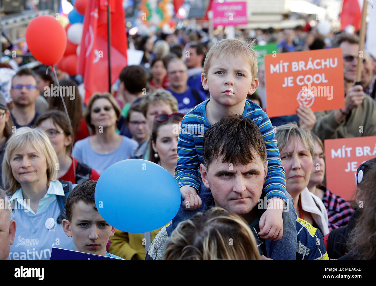 Prague, Czech Republic. 07th Apr, 2018. Several thousand people took part in a procession with Czech flags, big white crosses and banners that protested against abortions in the centre of Prague and called for more support for marriage and families with more children, in Prague, Czech Republic, on April 7, 2018. Credit: Michaela Rihova/CTK Photo/Alamy Live News Stock Photo