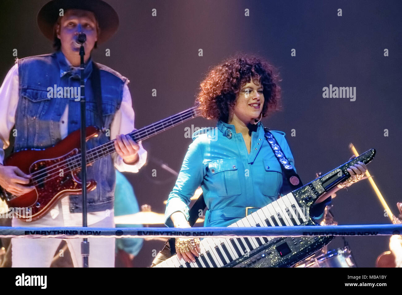 Manchester, UK  8th Apr, 2018  WIN BUTLER and REGINE CHASSAGNE of