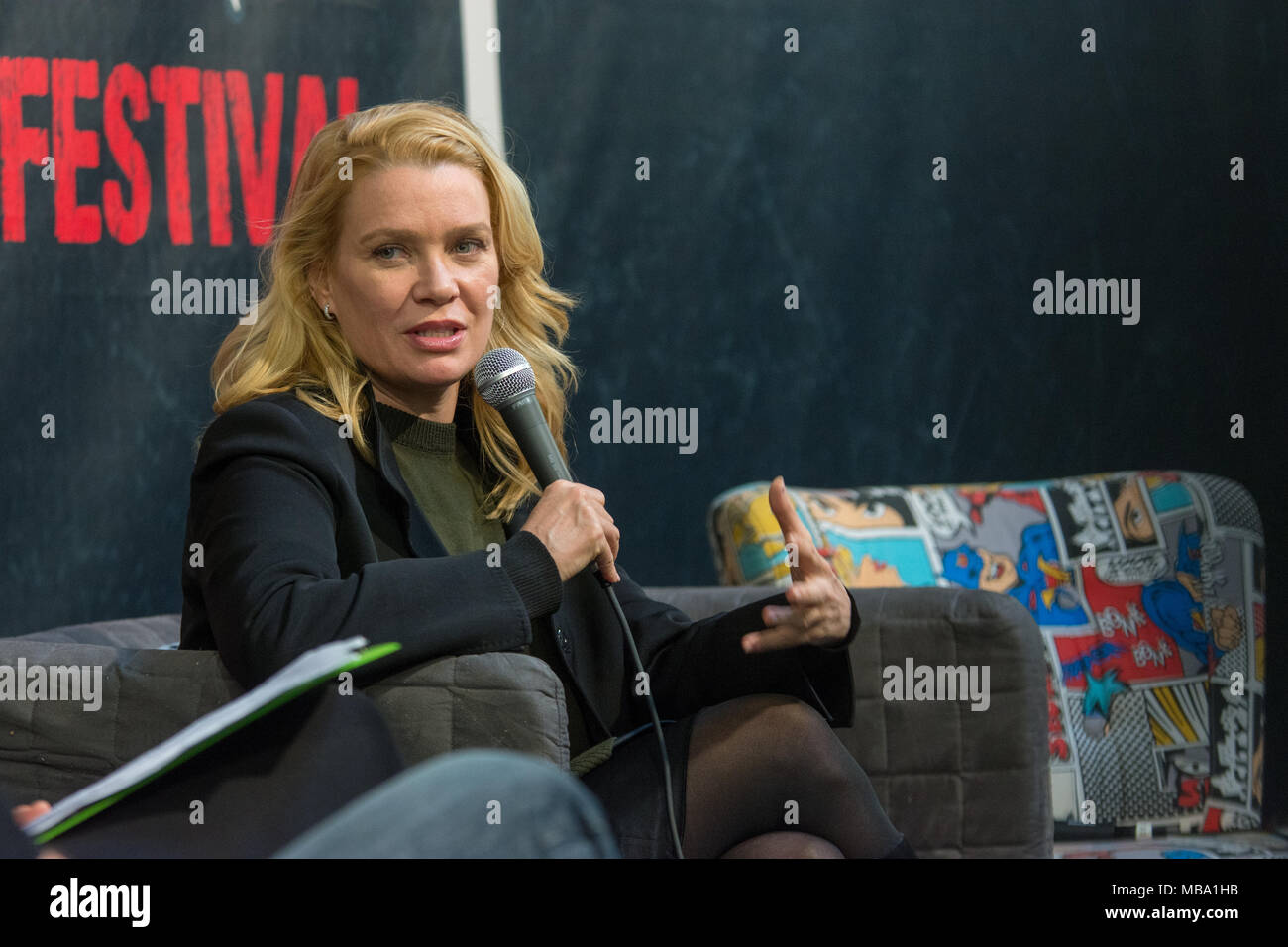 DORTMUND, GERMANY - APRIL 8: Actress Laurie Holden (The Walking Dead, The X-Files, Silent Hill) at Weekend of Hell, a two day (April 7-8 2018) horror-themed fan convention. Credit: Markus Wissmann/Alamy Live News - Stock Image