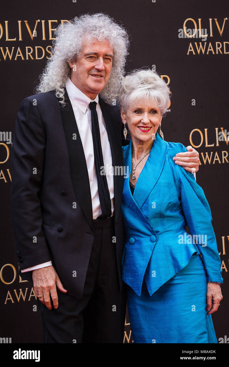 London, UK. 8th April, 2018. Queen guitarist Brian May with his wife Actress Anita Dobson on the red carpet at the 2018 Olivier Awards held at the Royal Albert Hall in London. Credit: David Betteridge/Alamy Live News Stock Photo