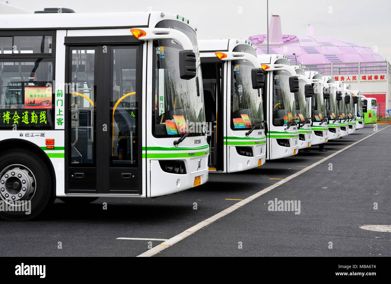 expo eco-buses at the 2010 shanghai world expo, china - boost