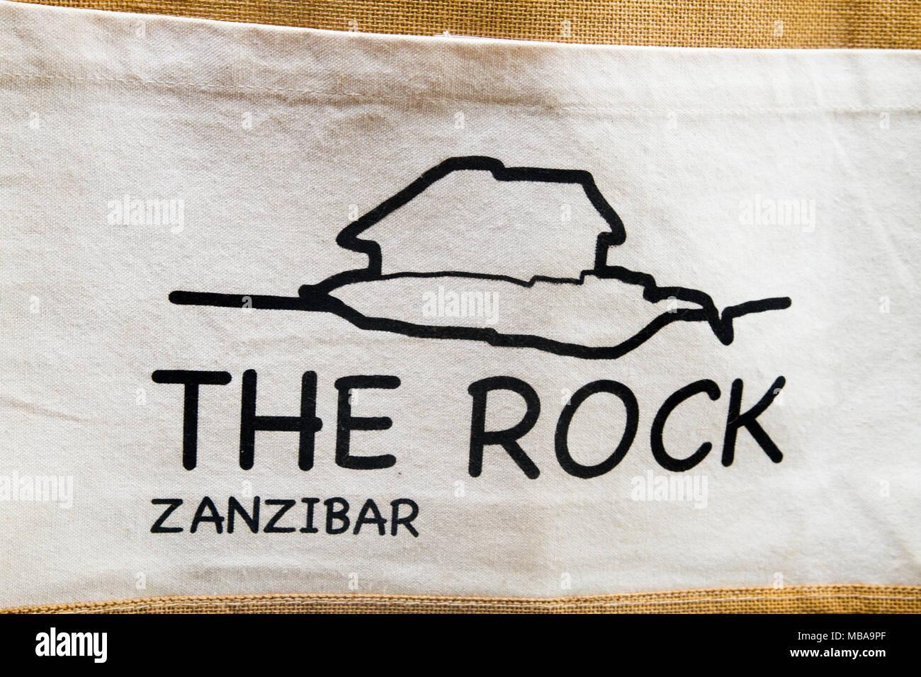 ZANZIBAR, TANZANIA - JANUARY 05: Sign of The Rock restaurant in Zanzibar, Tanzania on January 6th, 2018 - Stock Image