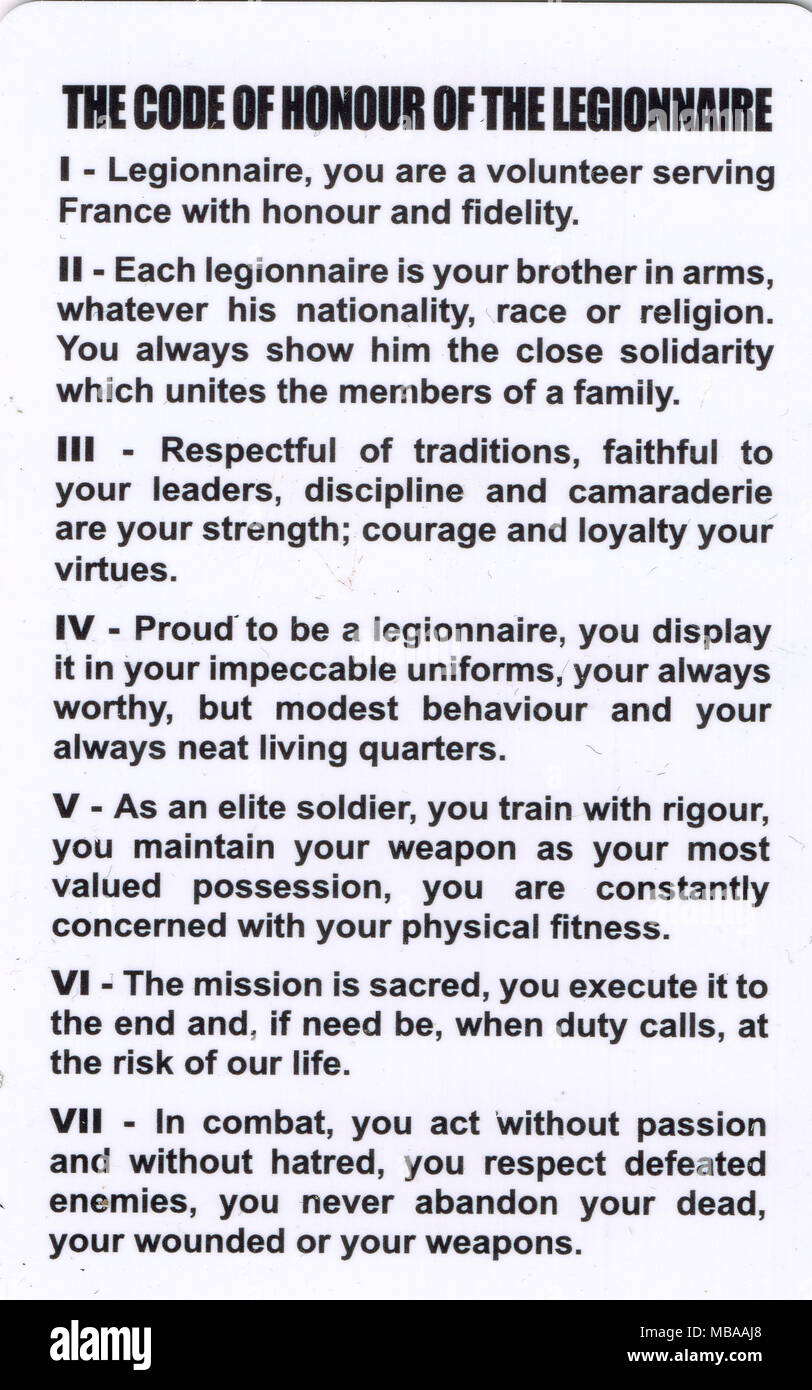 French Foreign Legion commandments, Aubagne, France - Stock Image